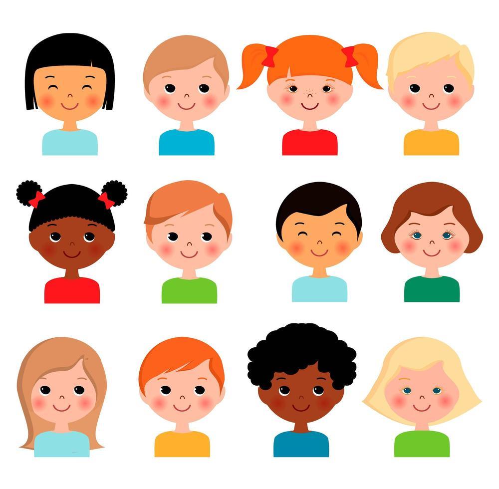 ensemble de visages d'enfants différents vecteur