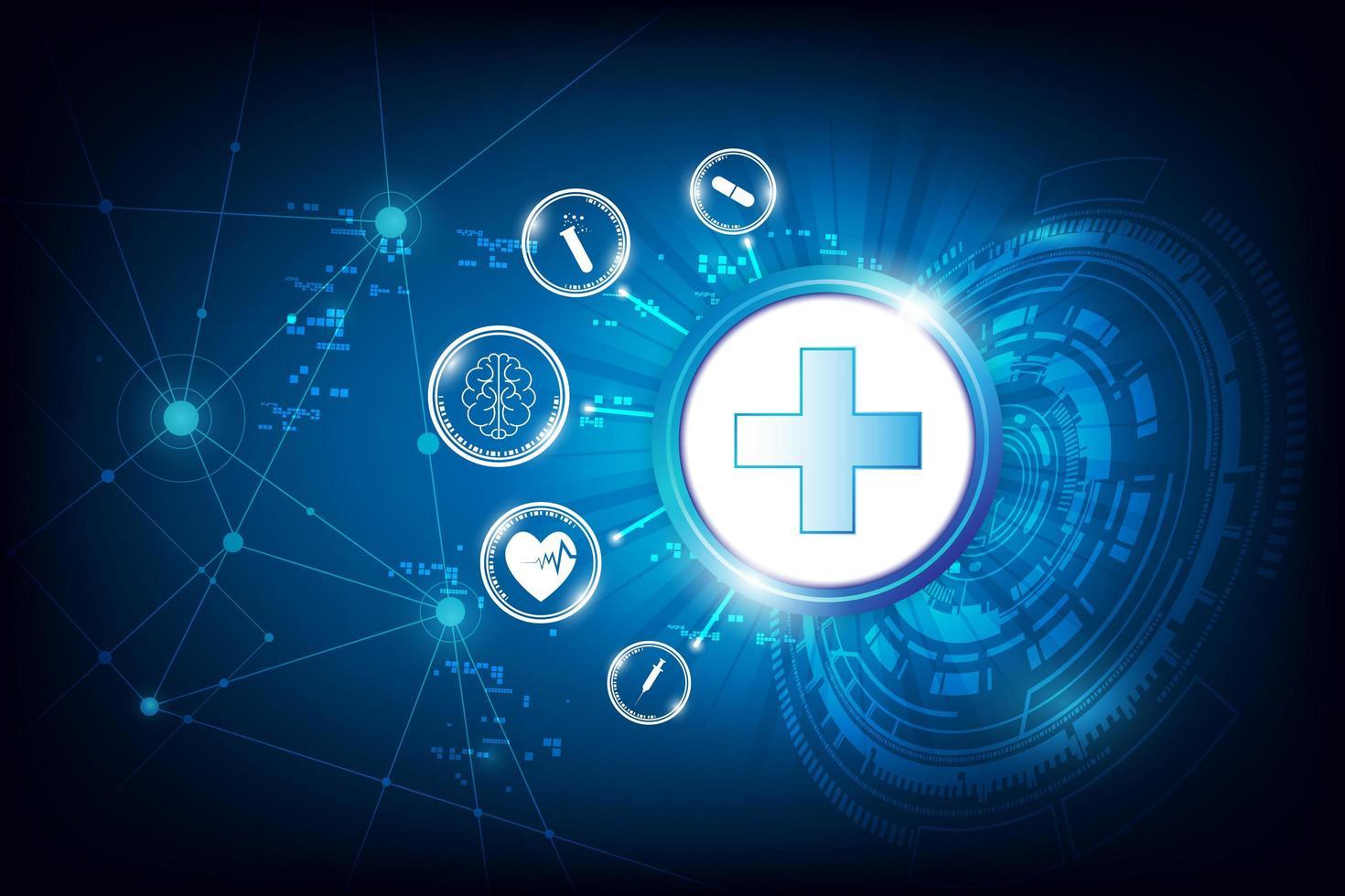 conception de technologie de soins de santé circulaire vecteur