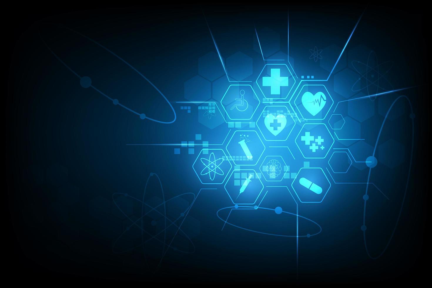 conception d'icône médicale rouge hexagone bleu vecteur