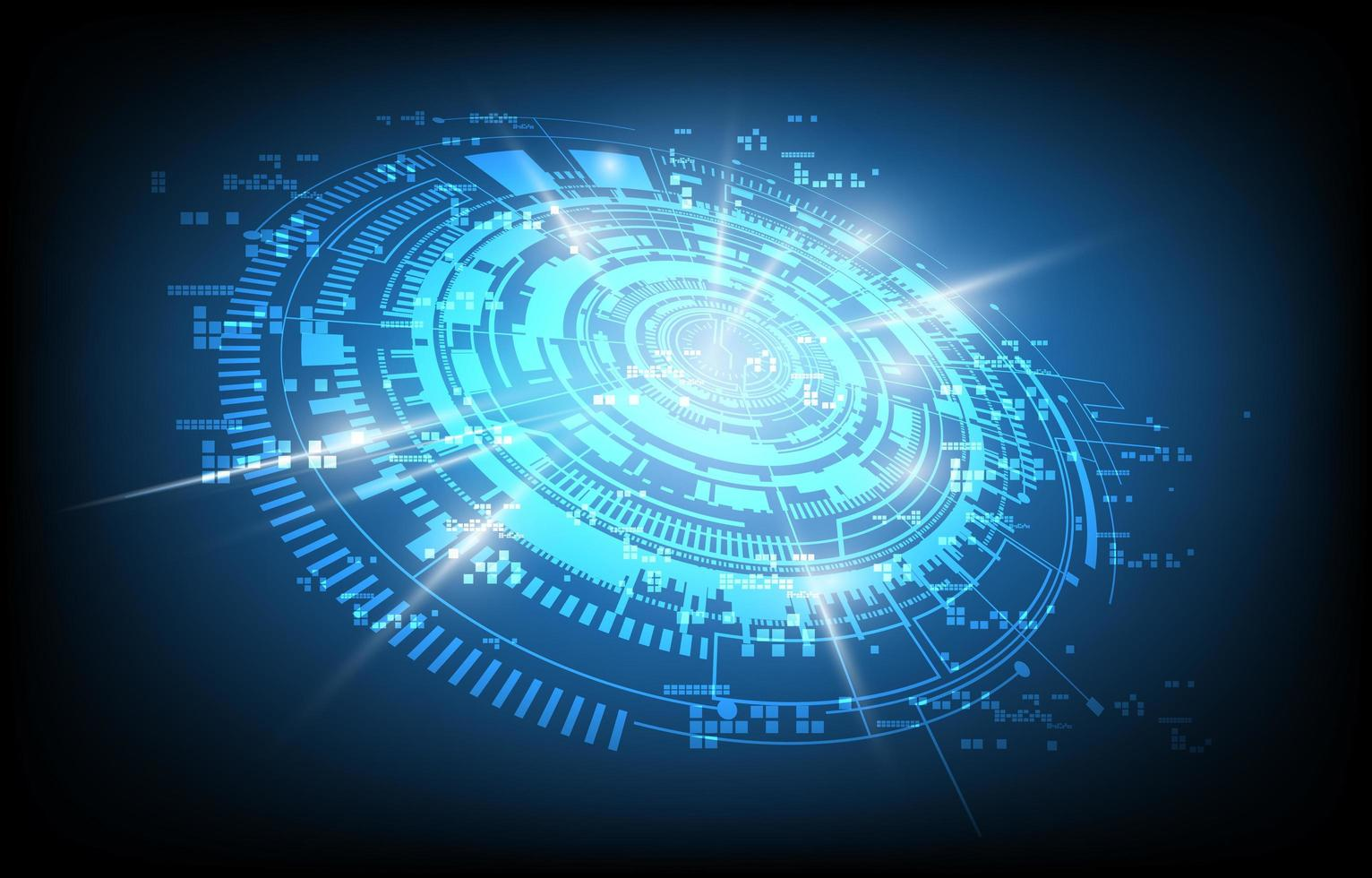 design futuriste circulaire bleu brillant vecteur