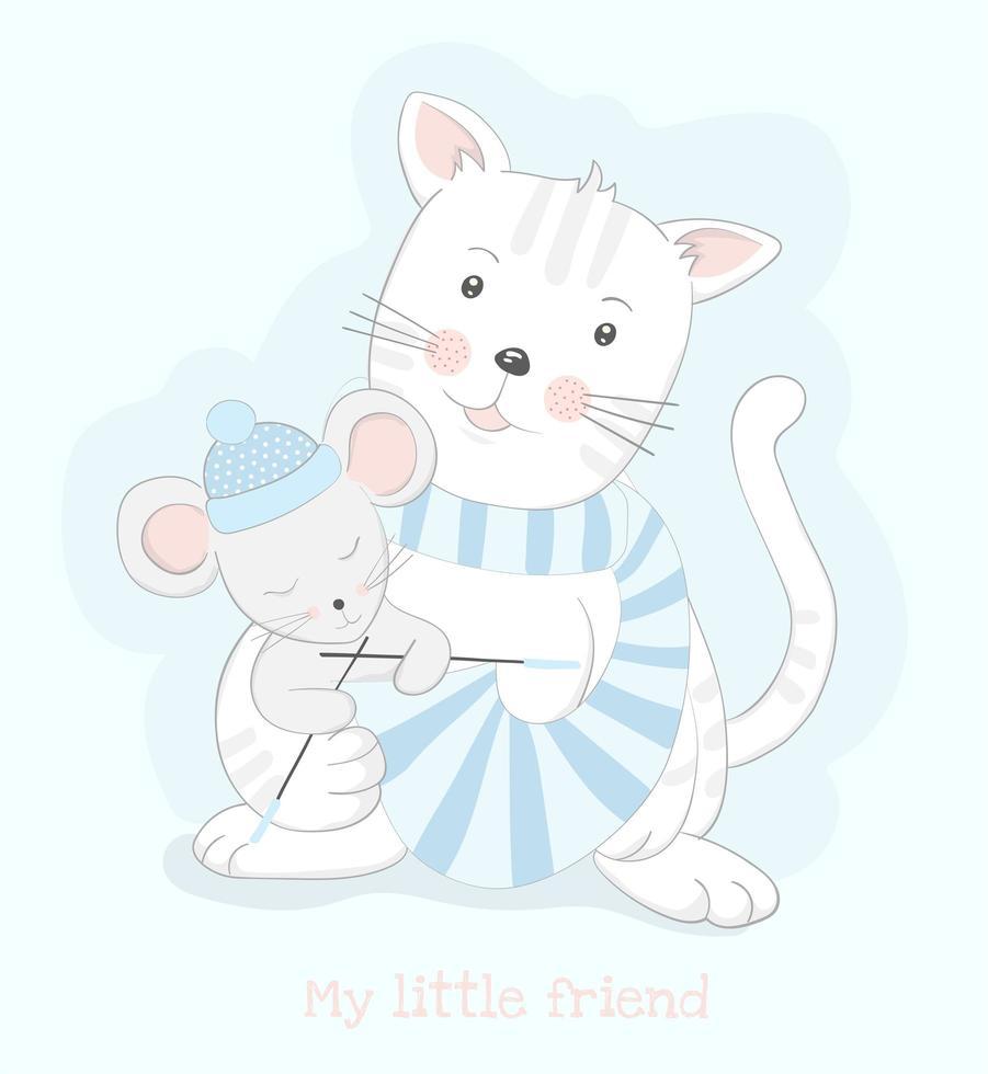 chat tenant la souris tricot écharpe à rayures bleues vecteur