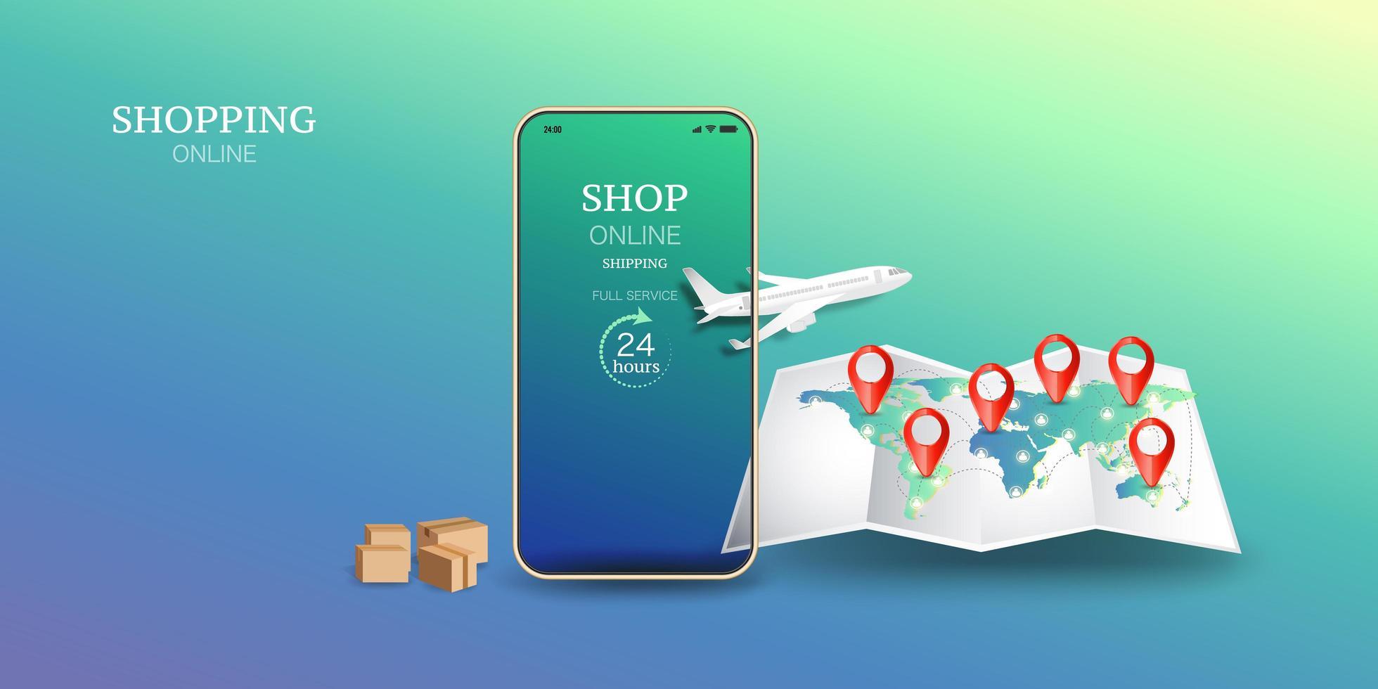 concept de magasinage de téléphone mobile avec carte du monde et broches vecteur