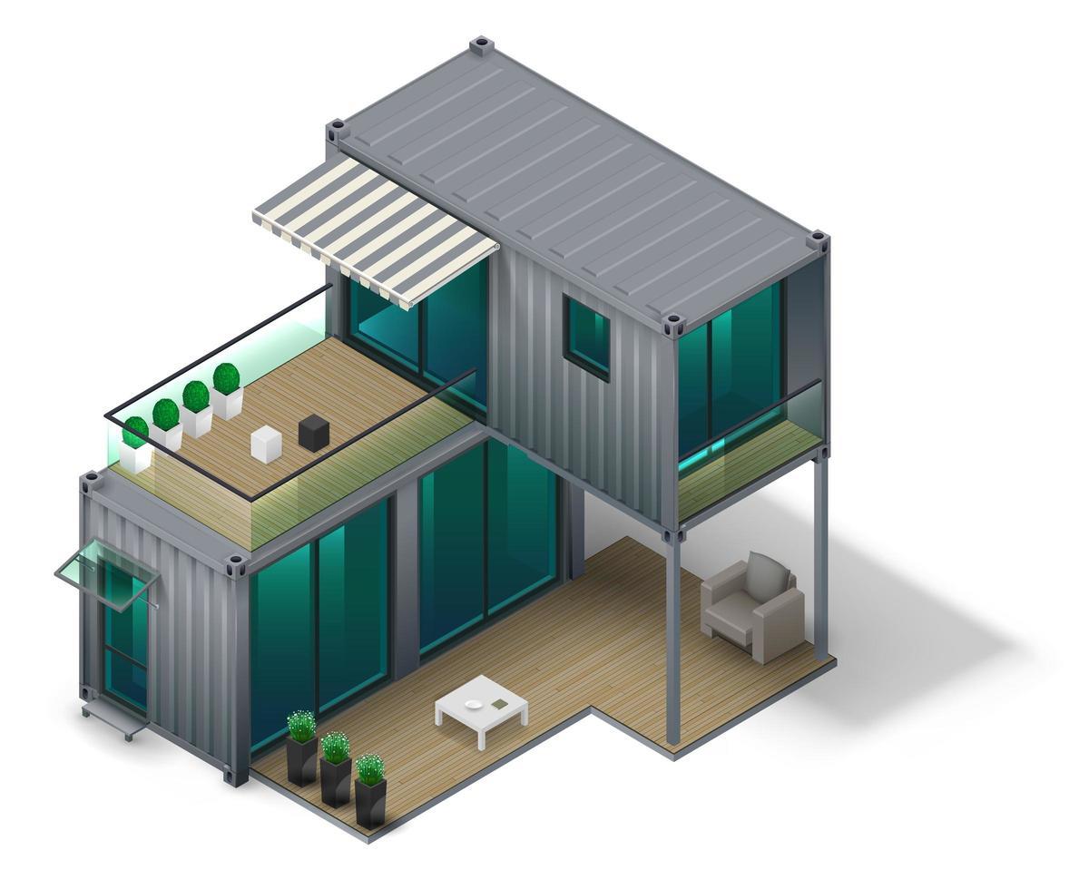 concept de maison conteneur vecteur