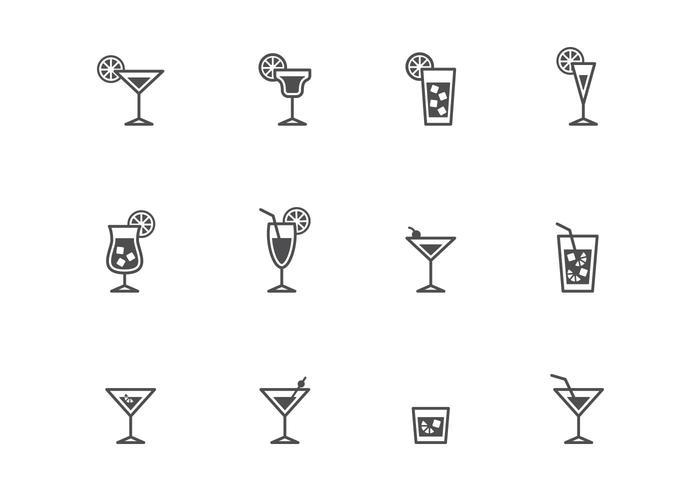 Icônes de cocktails vecteur