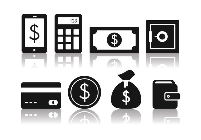 Ensemble d'icônes de banque minimaliste gratuit vecteur