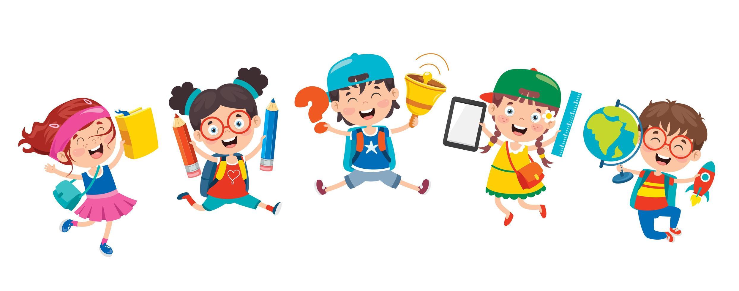 enfants heureux, tenue, fournitures scolaires vecteur