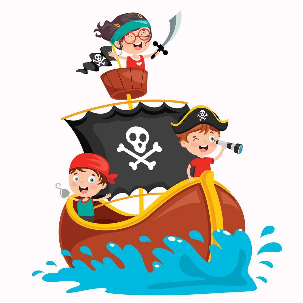 petit enfant pirates sur un bateau marron et doré vecteur