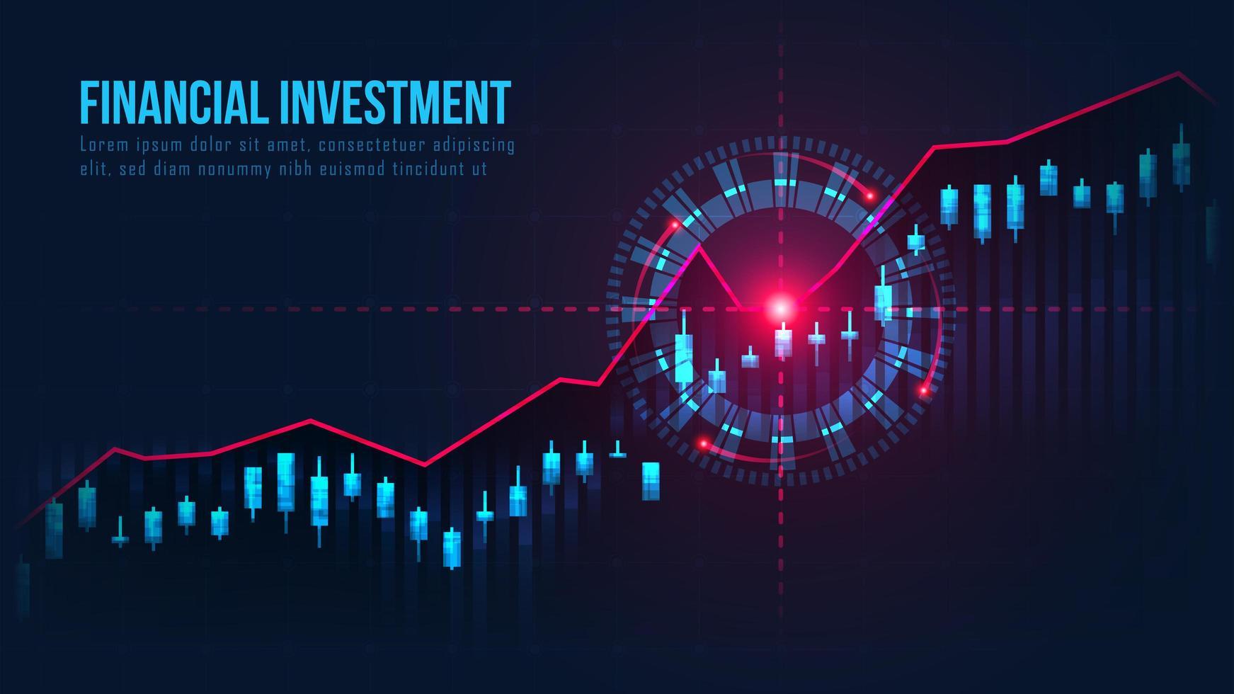 graphique de trading lumineux avec signal cible d'achat vecteur