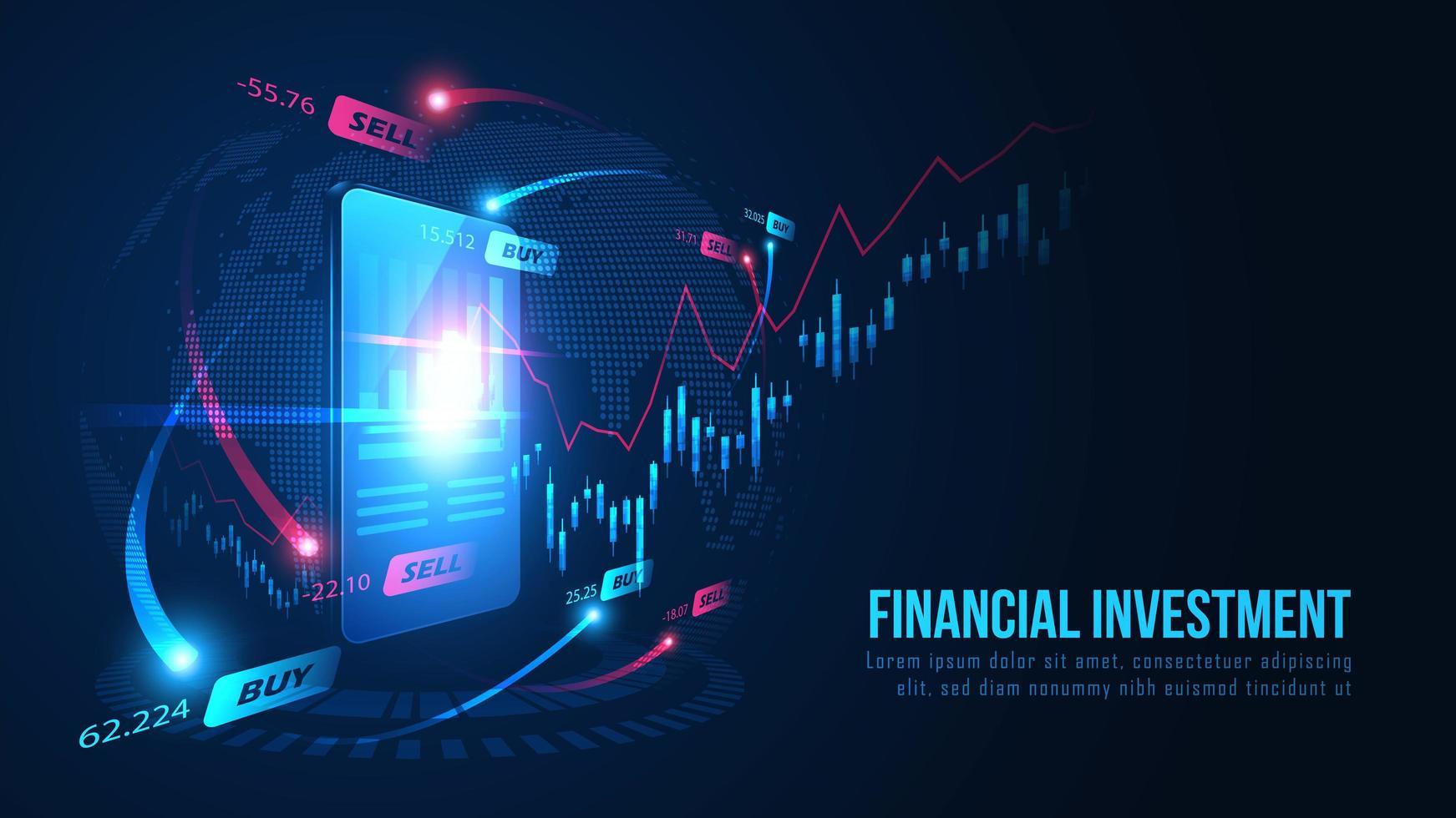 graphique de trading en ligne sur la conception de smartphones vecteur