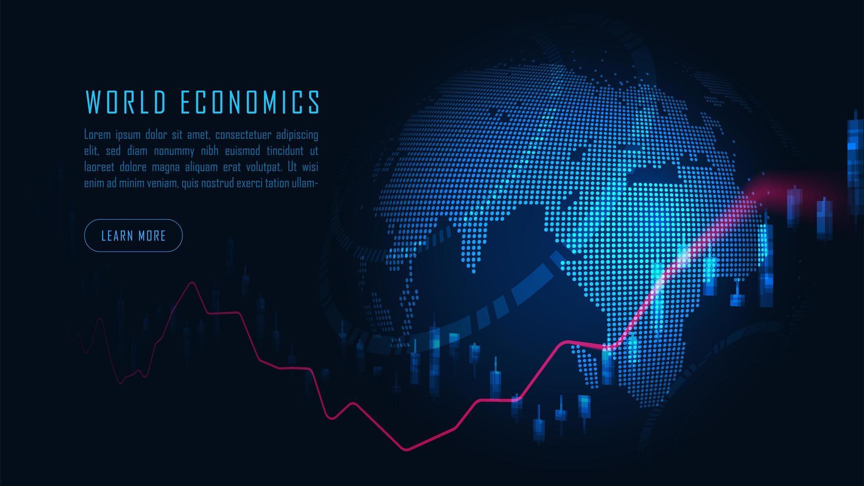 marché boursier mondial ou graphique de trading forex vecteur