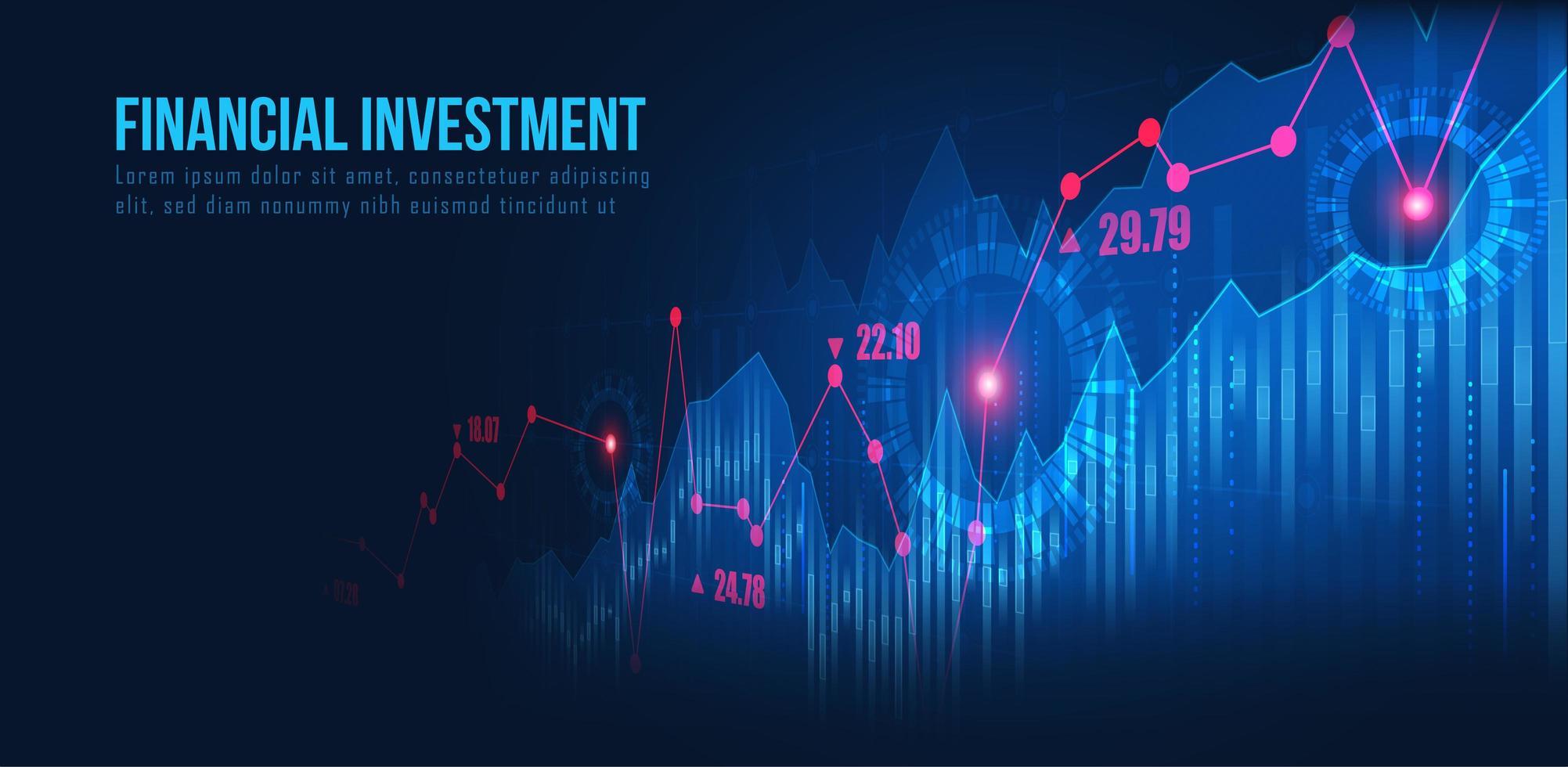 graphique de trading avec prix cible vecteur