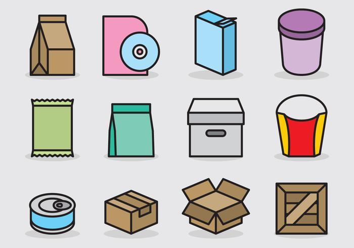 Icônes d'emballage mignonnes vecteur