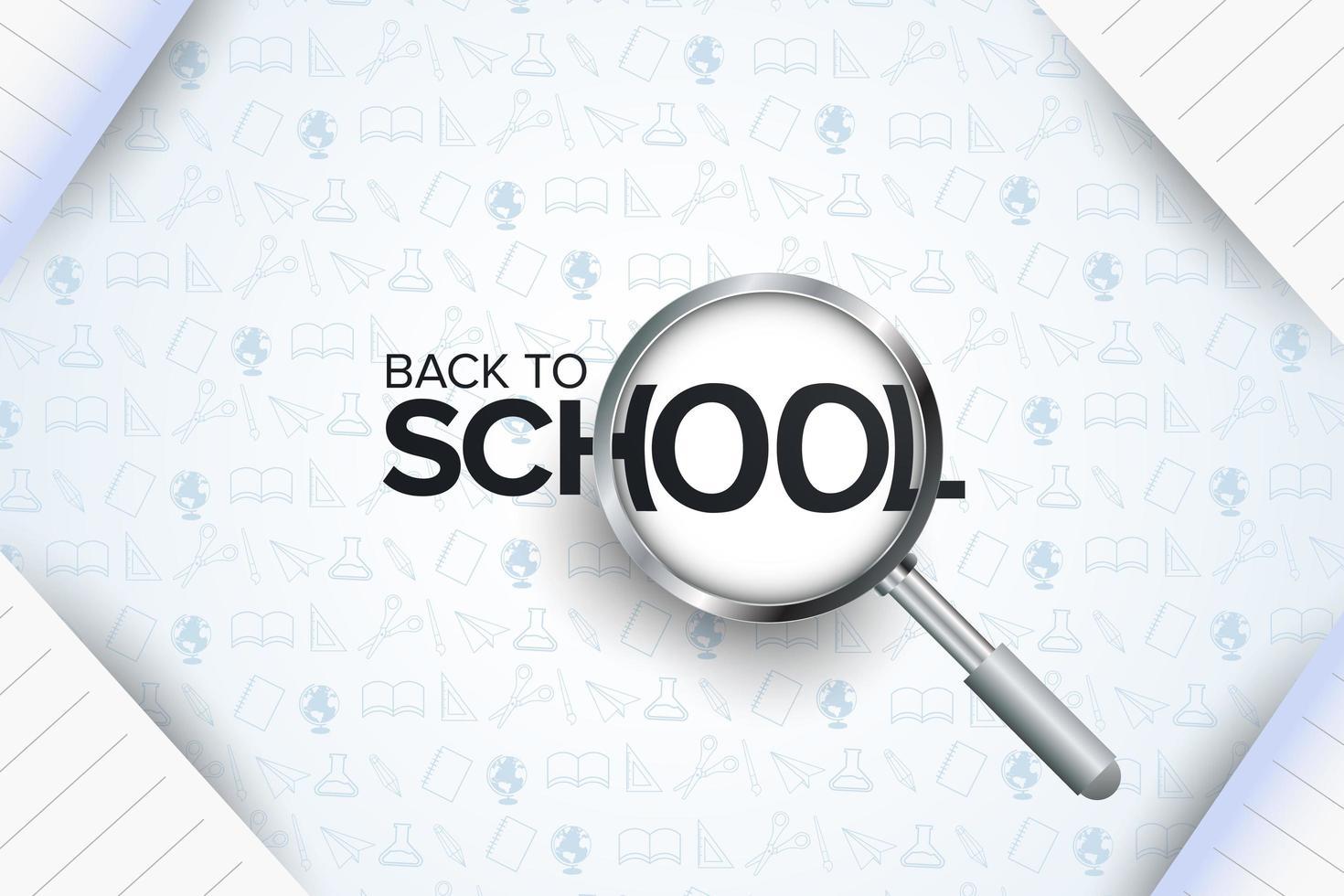 affiche de la rentrée scolaire avec loupe vecteur