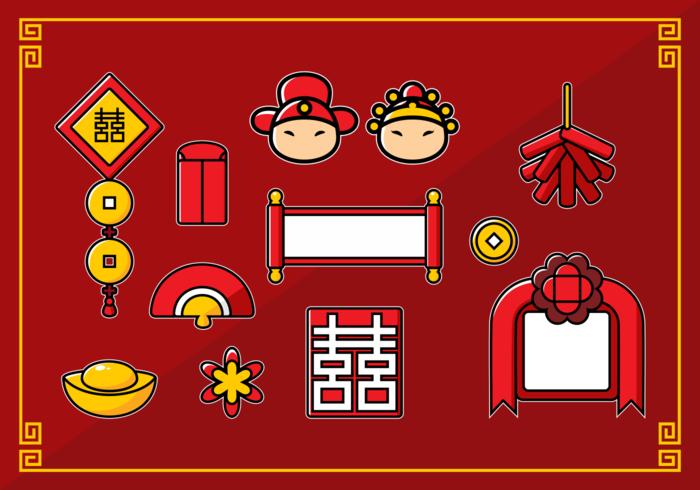 Collection de mariage chinois vecteur