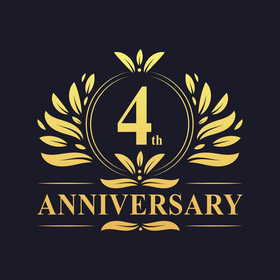 Logo or 4e anniversaire vecteur