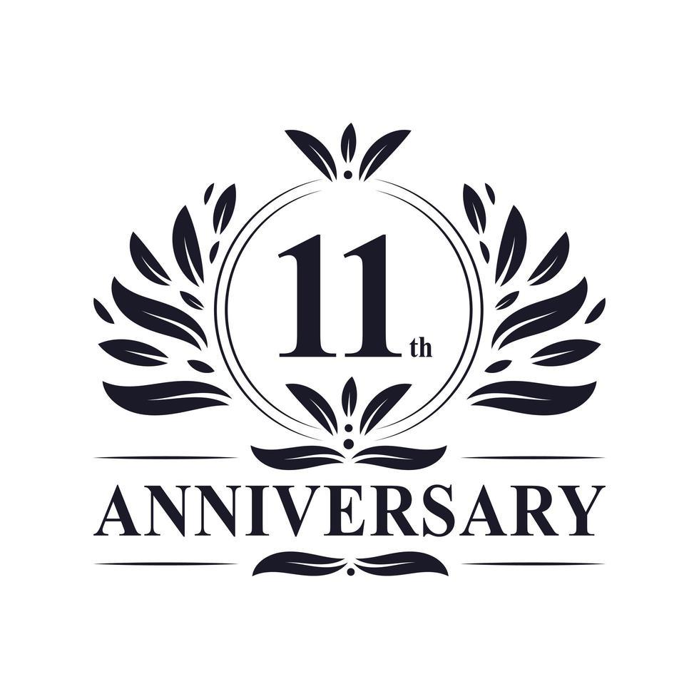 Logo du 11e anniversaire vecteur