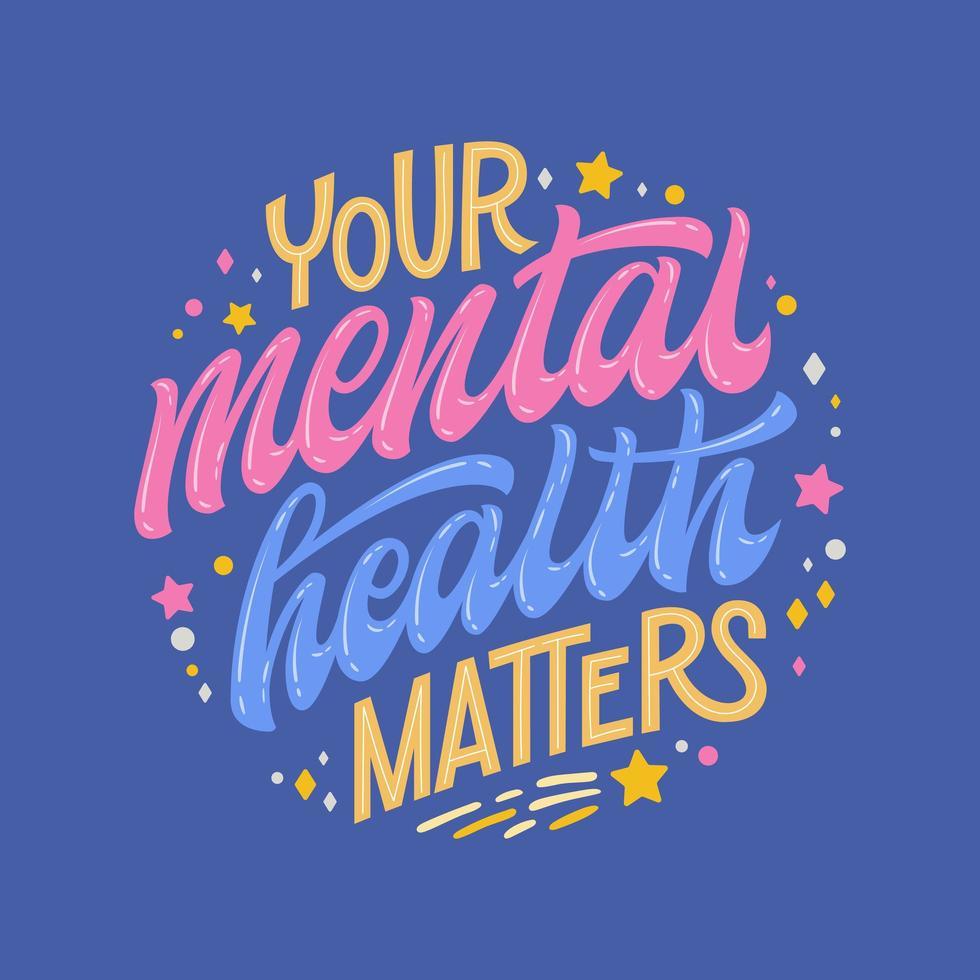 votre santé mentale compte dessin à la main vecteur