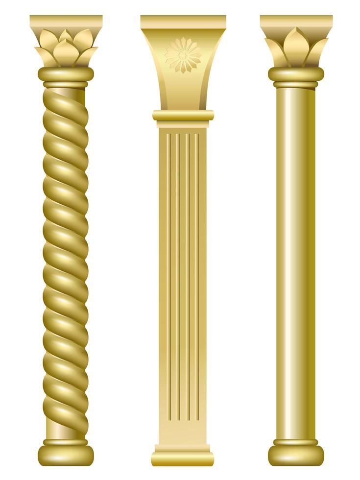 colonnes de support dorées vecteur