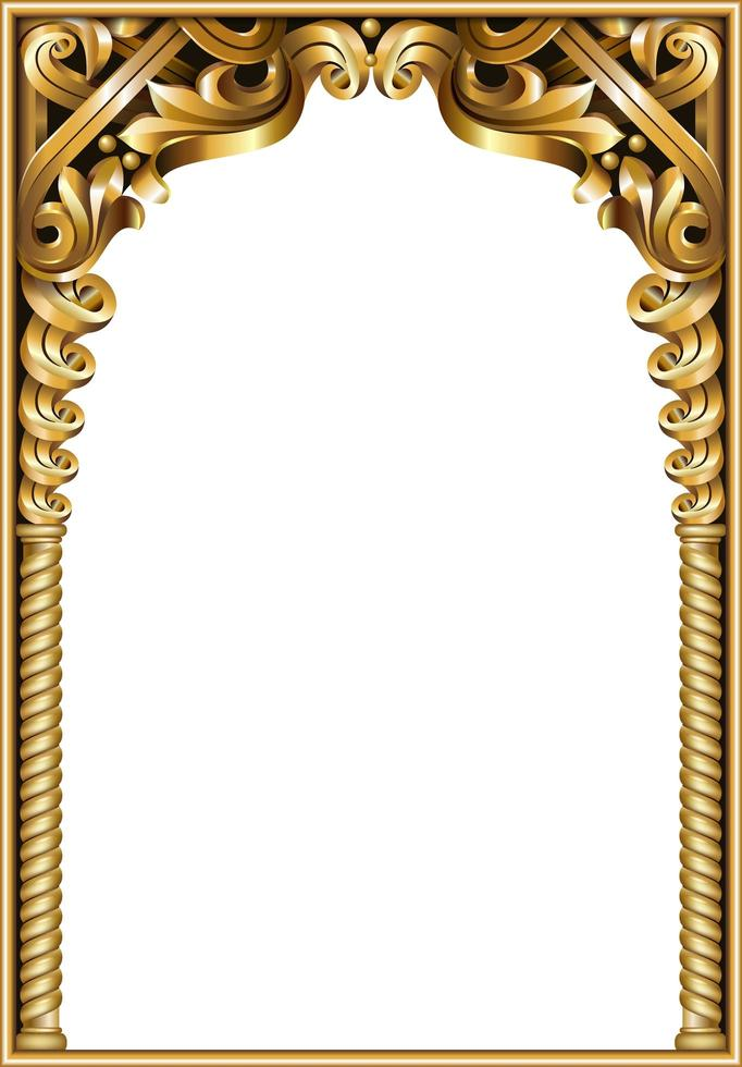 cadre baroque classique doré vecteur