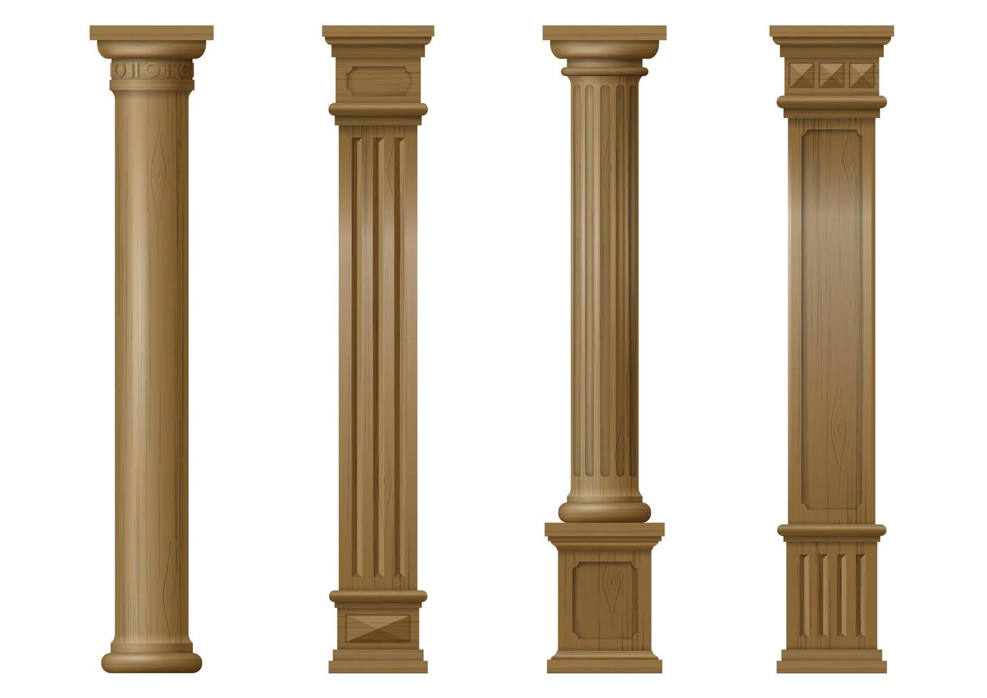 colonnes architecturales classiques en bois sculpté vecteur
