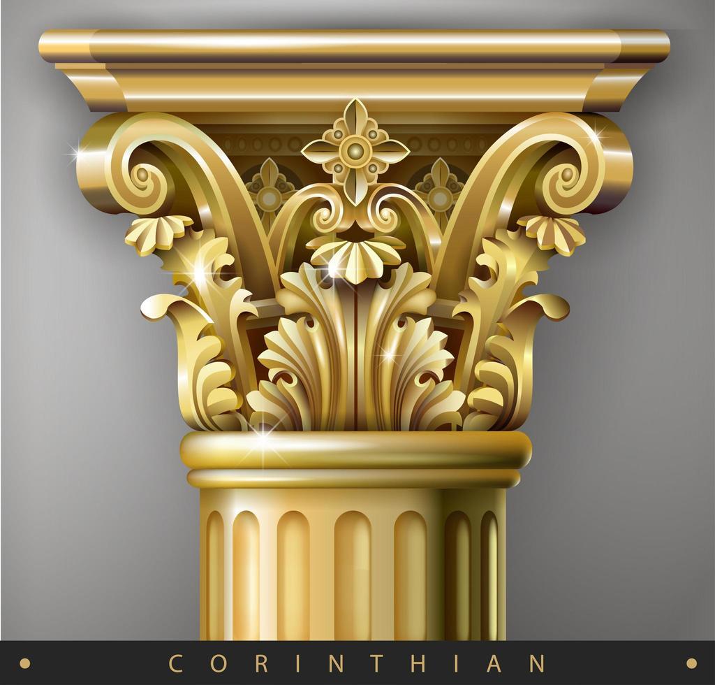 capitale dorée de la colonne ionique vecteur