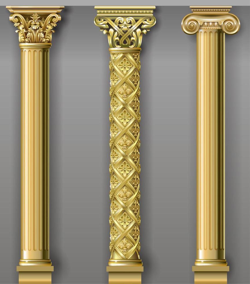 colonnes de luxe d'or vecteur