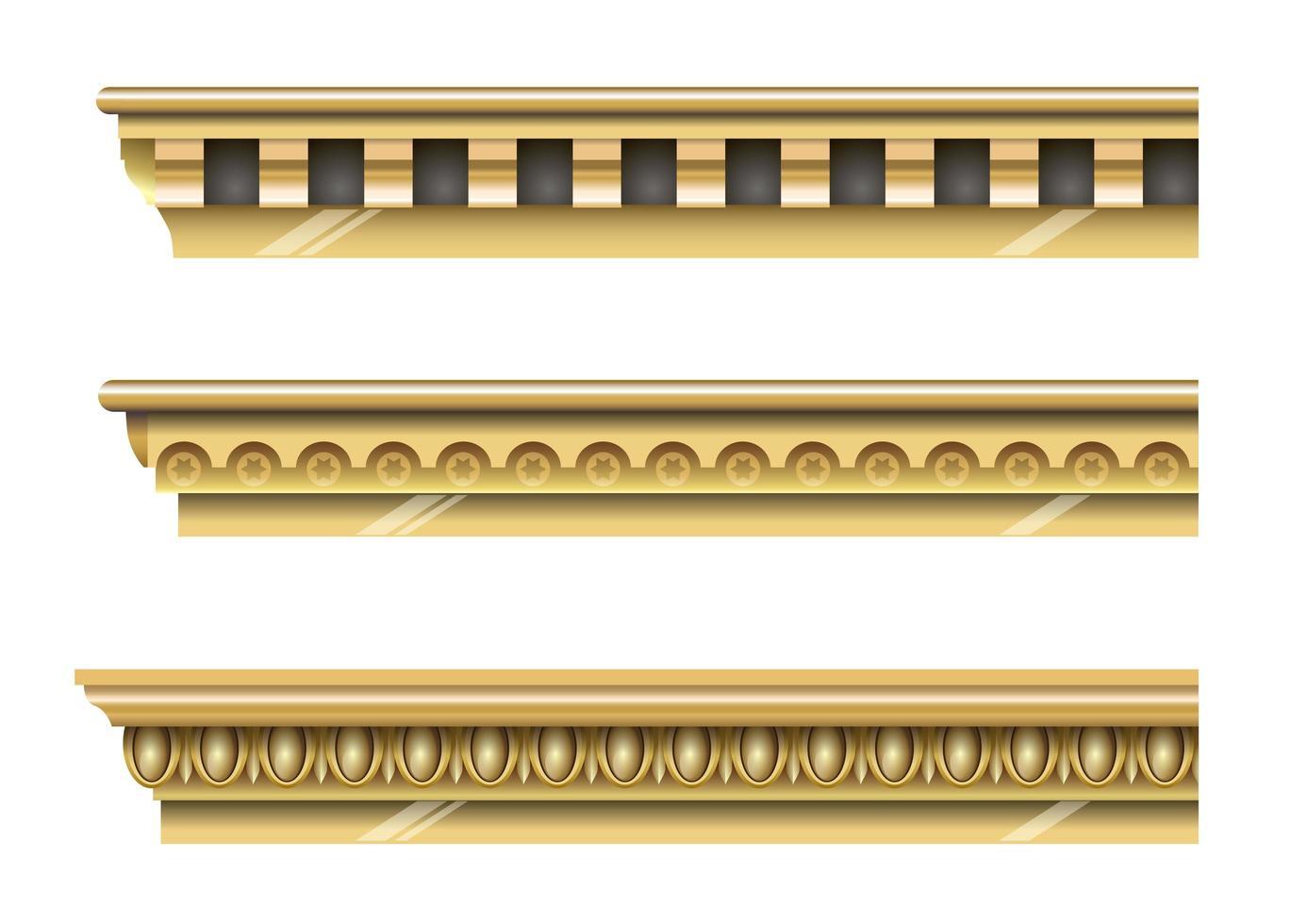 corniches d'or classiques vecteur