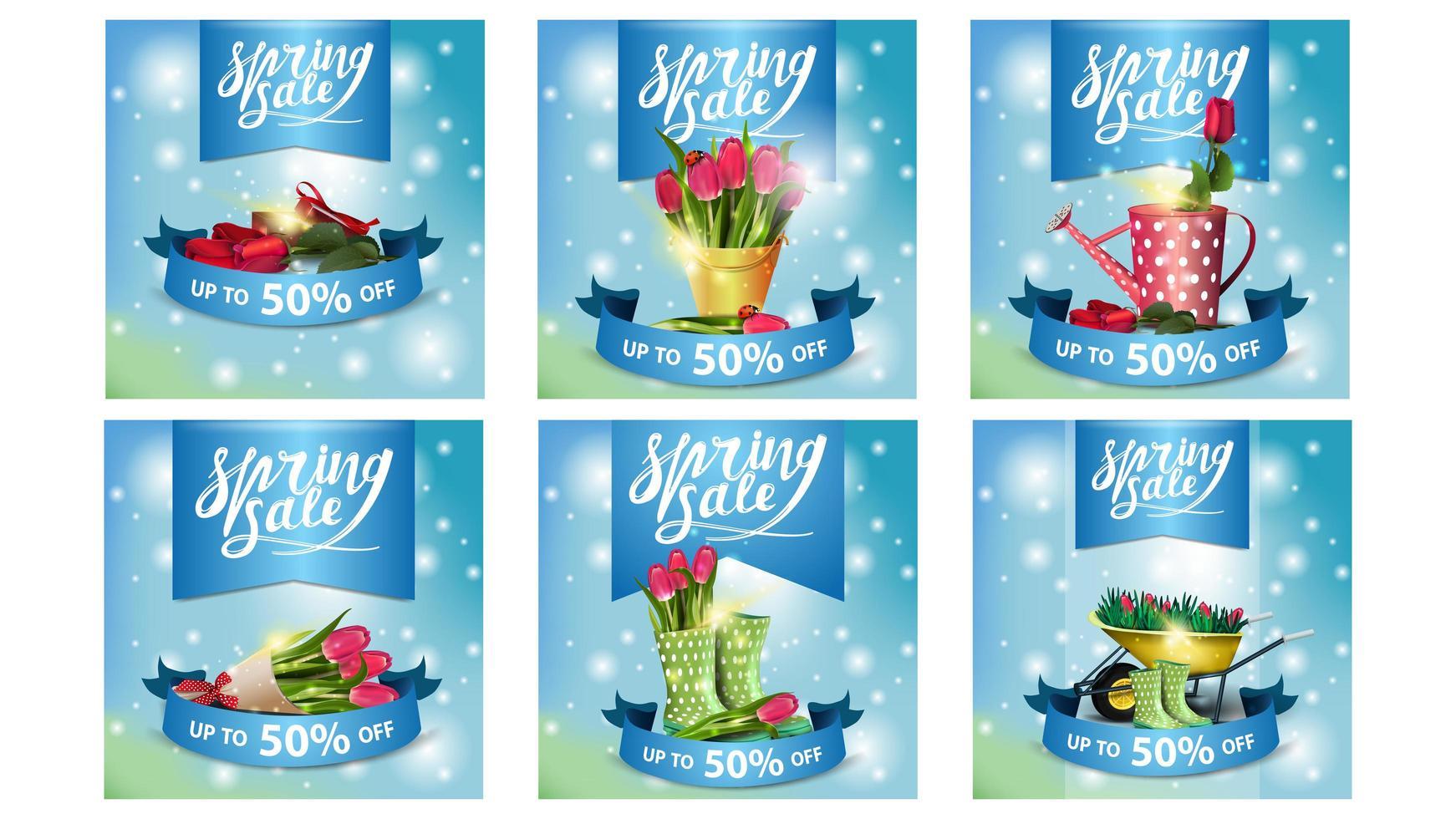 vente de printemps rougeoyant bannières carrées bleues vecteur