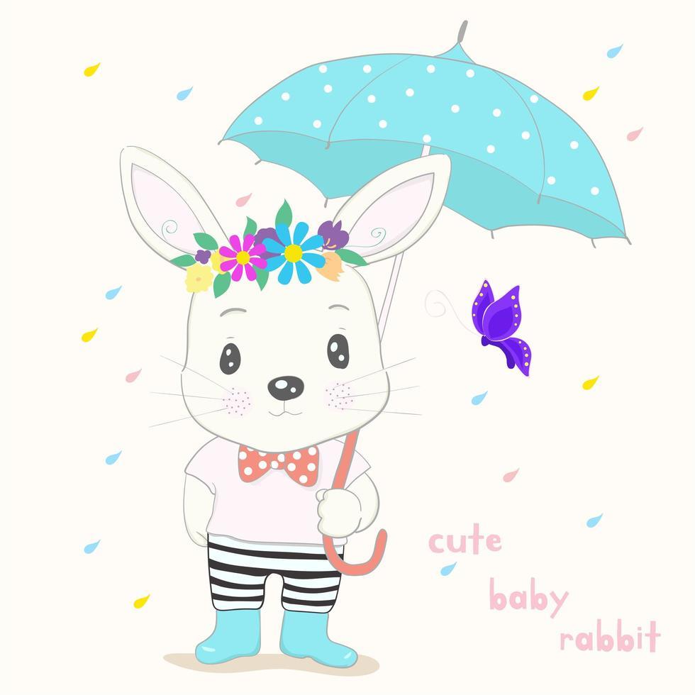 mignon petit lapin avec parapluie vecteur