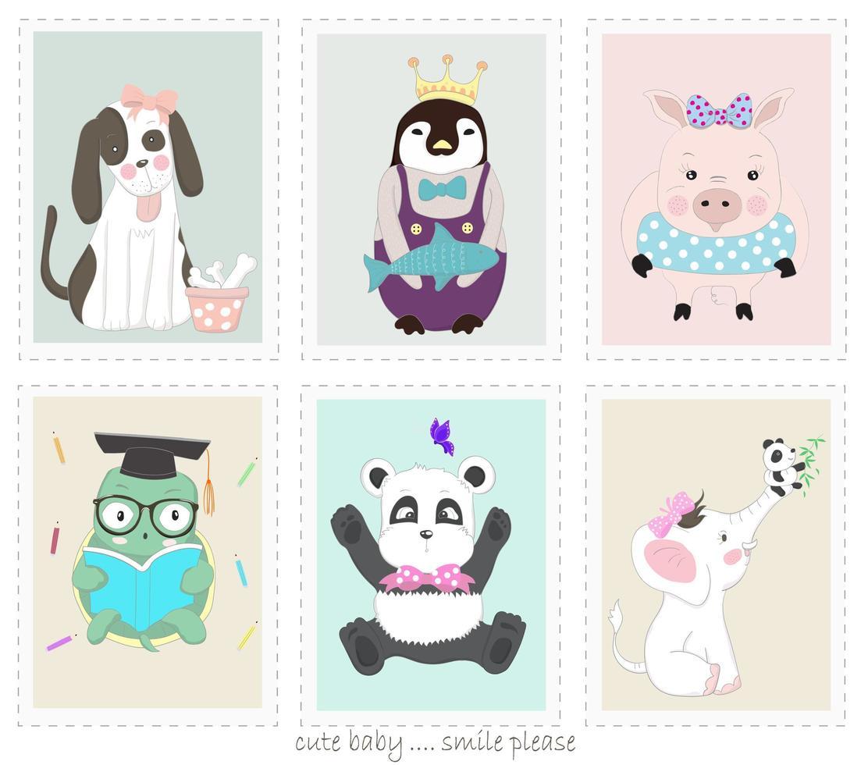 dessins animés mignons d'animaux dans des cadres vecteur
