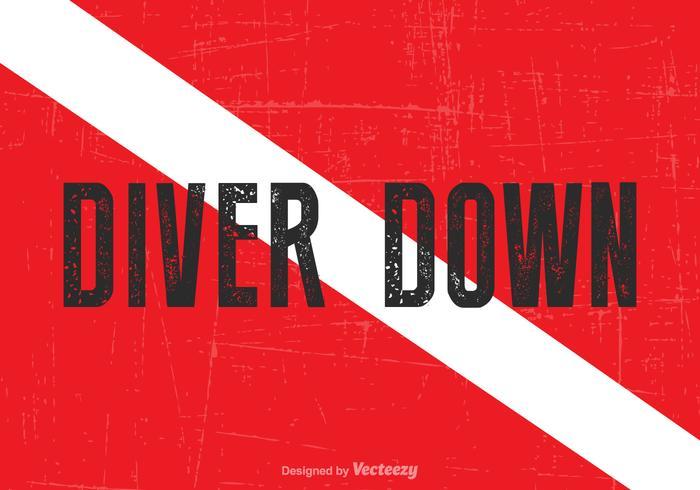 Libre vecteur plongeur vers le bas drapeau