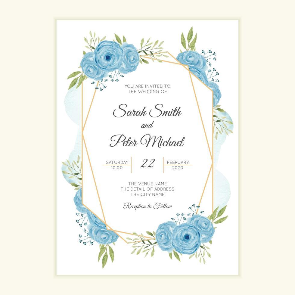 carte d'invitation de mariage rustique avec cadre aquarelle fleur bleue vecteur