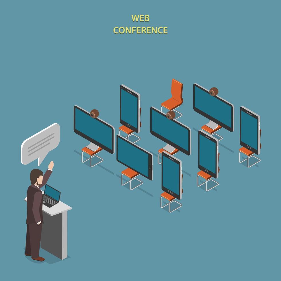 conception isométrique plate de conférence web vecteur