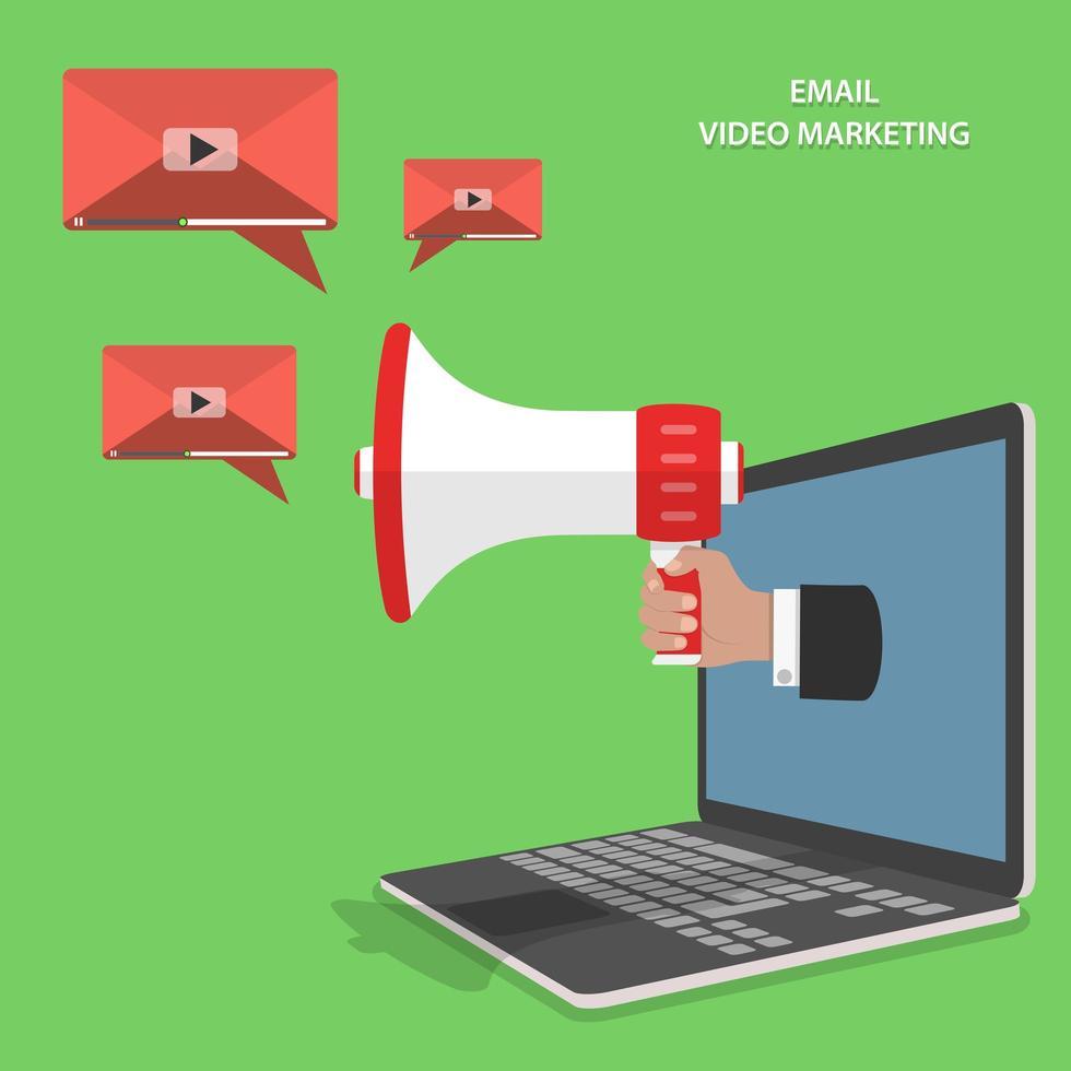 conception isométrique d'email marketing vidéo vecteur