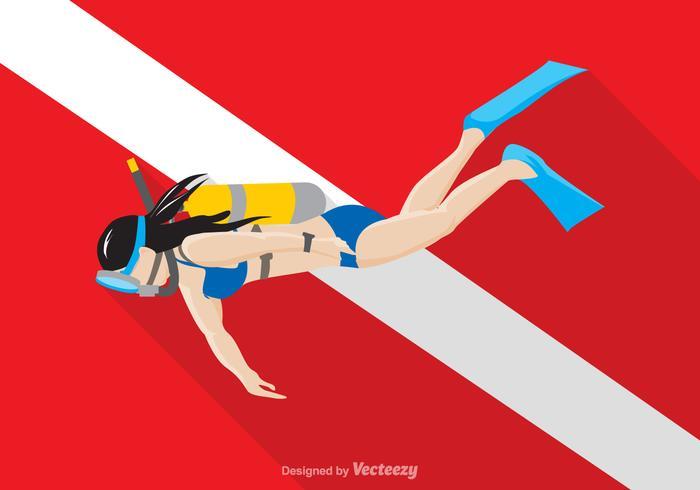 Illustration Vector Free Scuba Diver