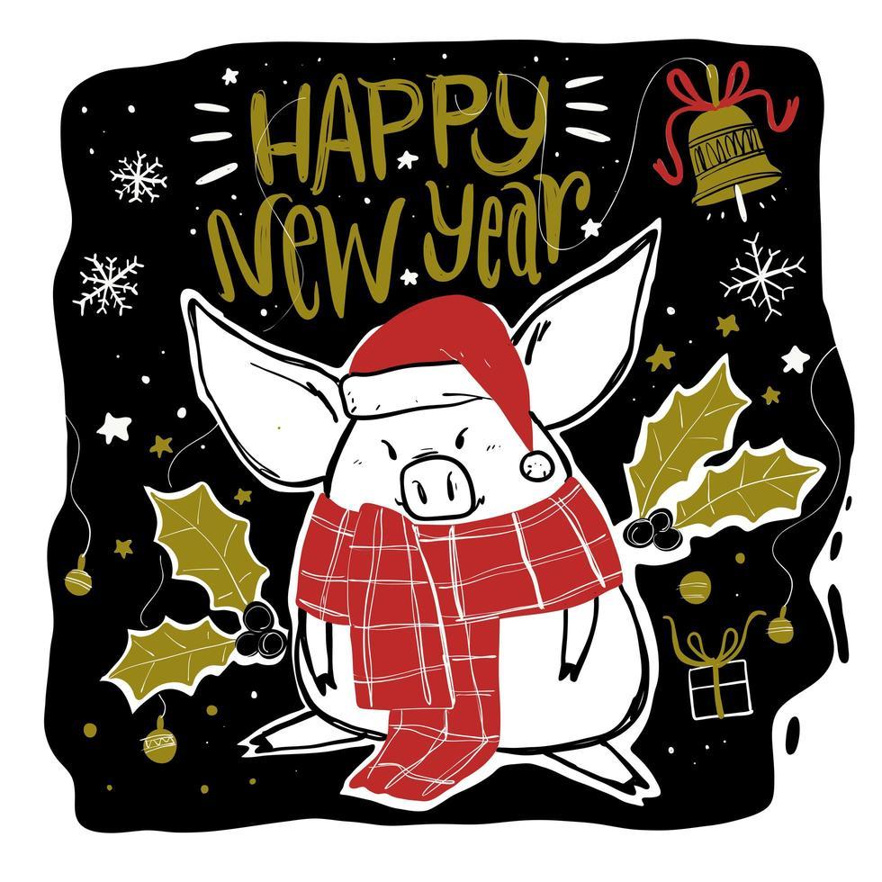 cochon avec foulard et chapeau et vacances doodle elements vecteur