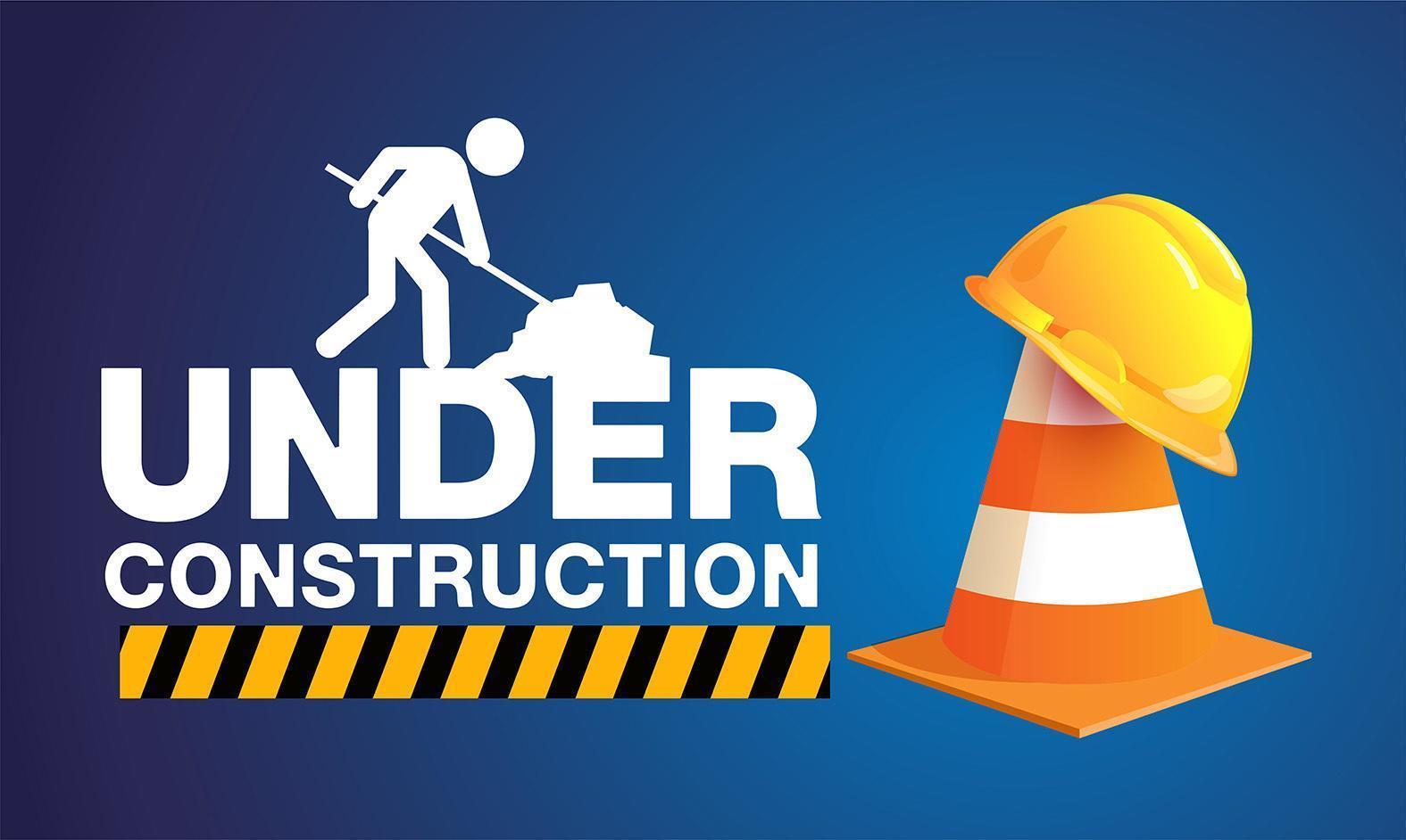 en construction signe avec cône sur dégradé bleu vecteur