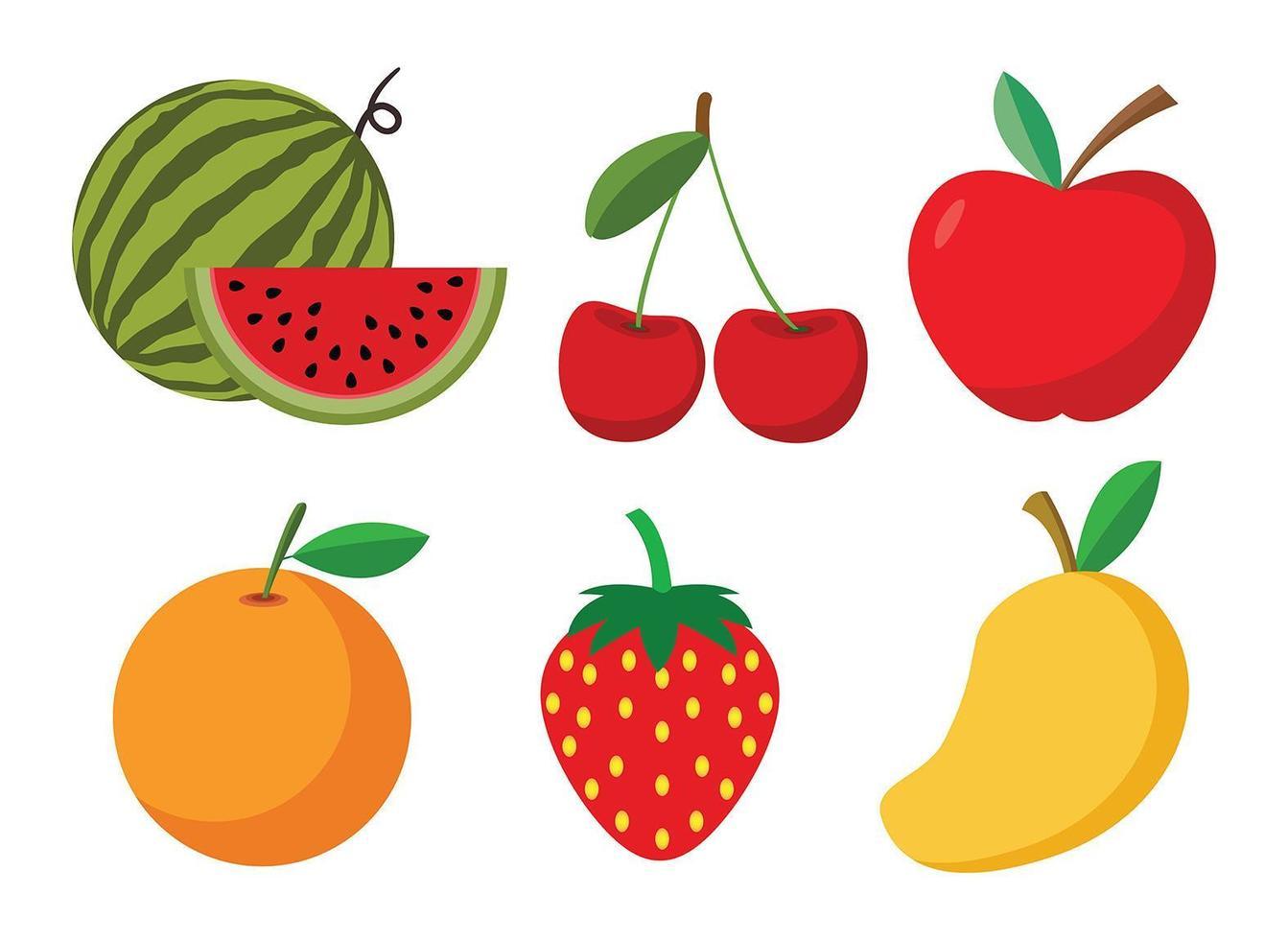 ensemble de fruits de dessin animé vecteur