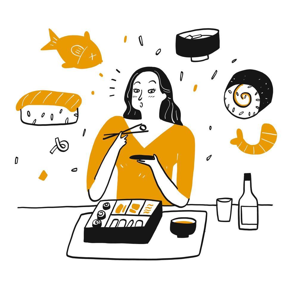 femme dessinée à la main, manger des sushis avec bonheur vecteur