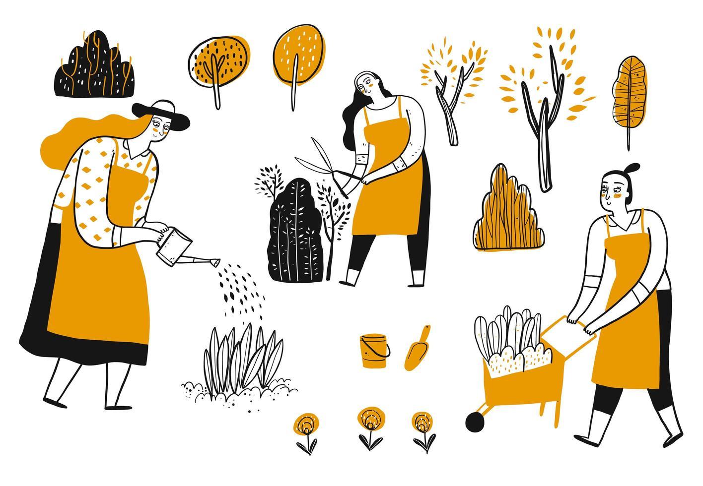 ensemble de femmes jardinage dessiné à la main vecteur