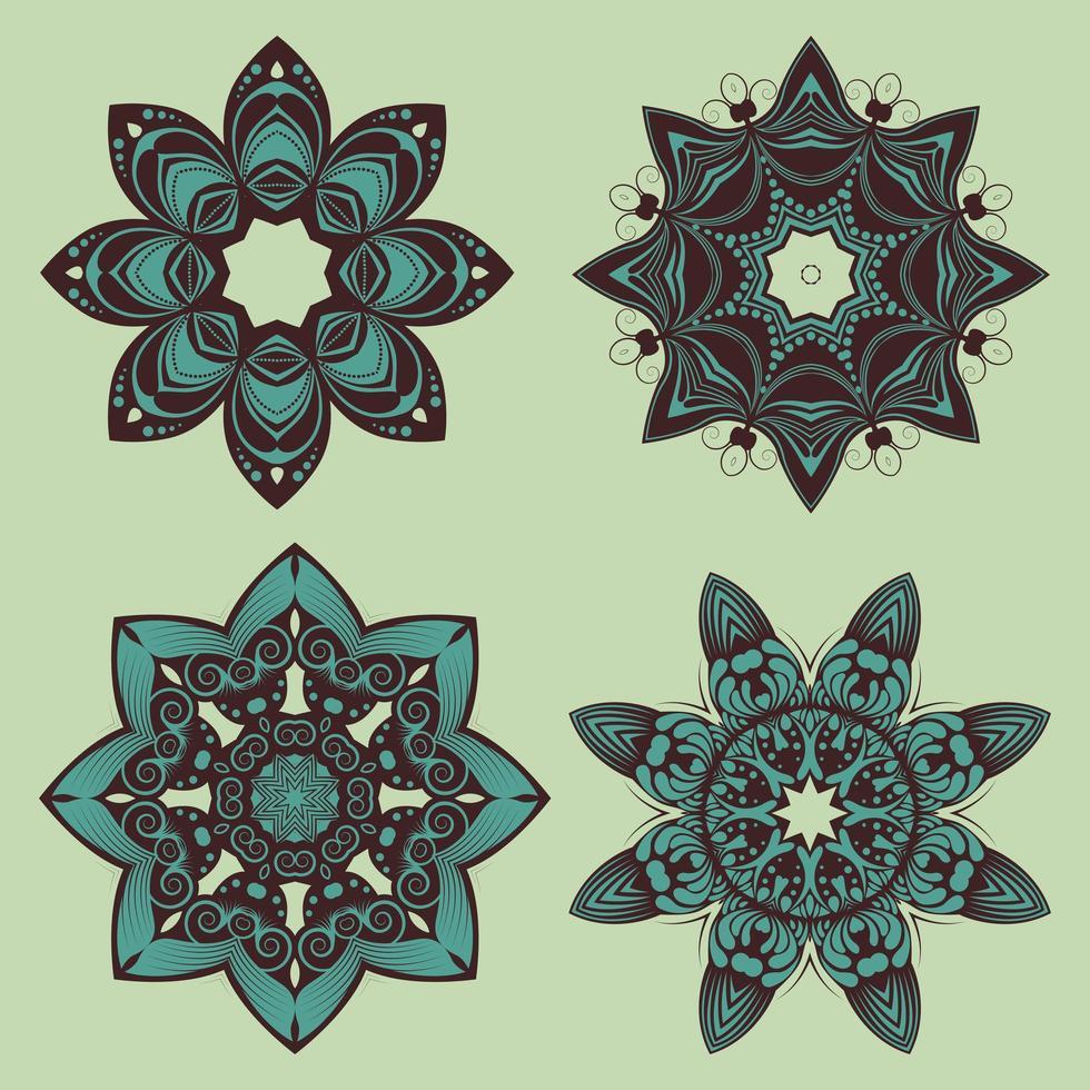 dessins de mandala floral décoratif vecteur