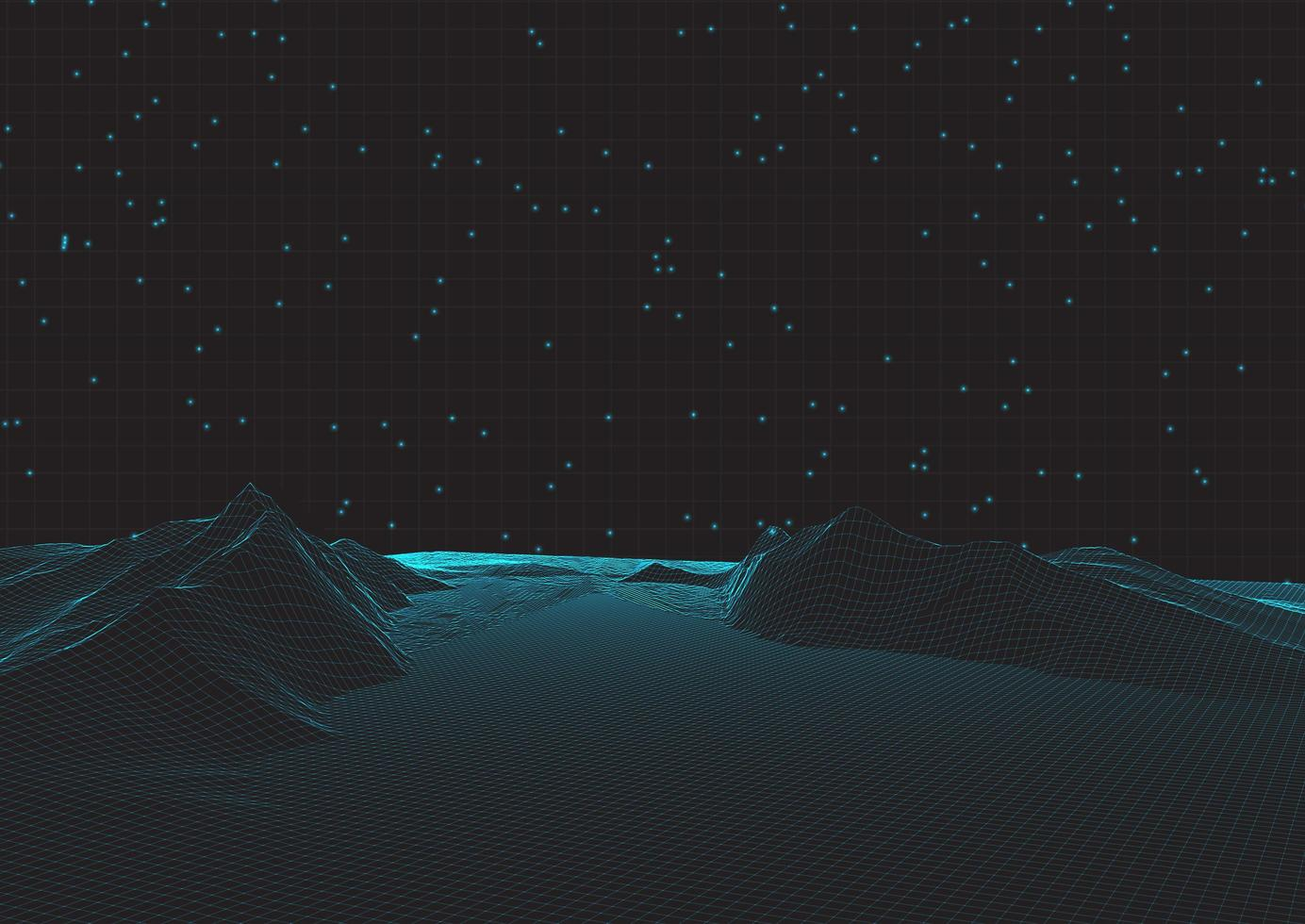 paysage filaire futuriste sur grille vecteur