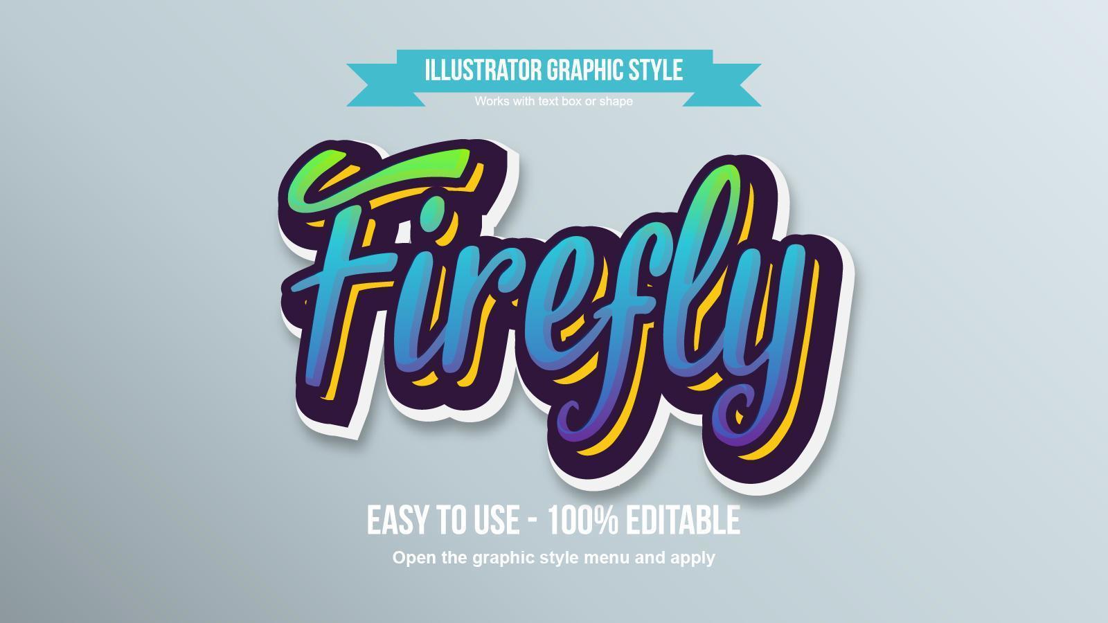 Effet de texte modifiable luciole cursive moderne coloré vecteur
