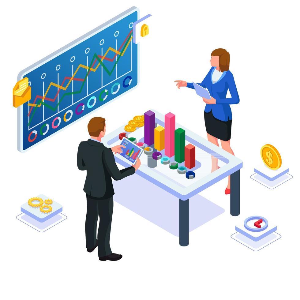 travail d'équipe pour discuter du développement de leur entreprise vecteur