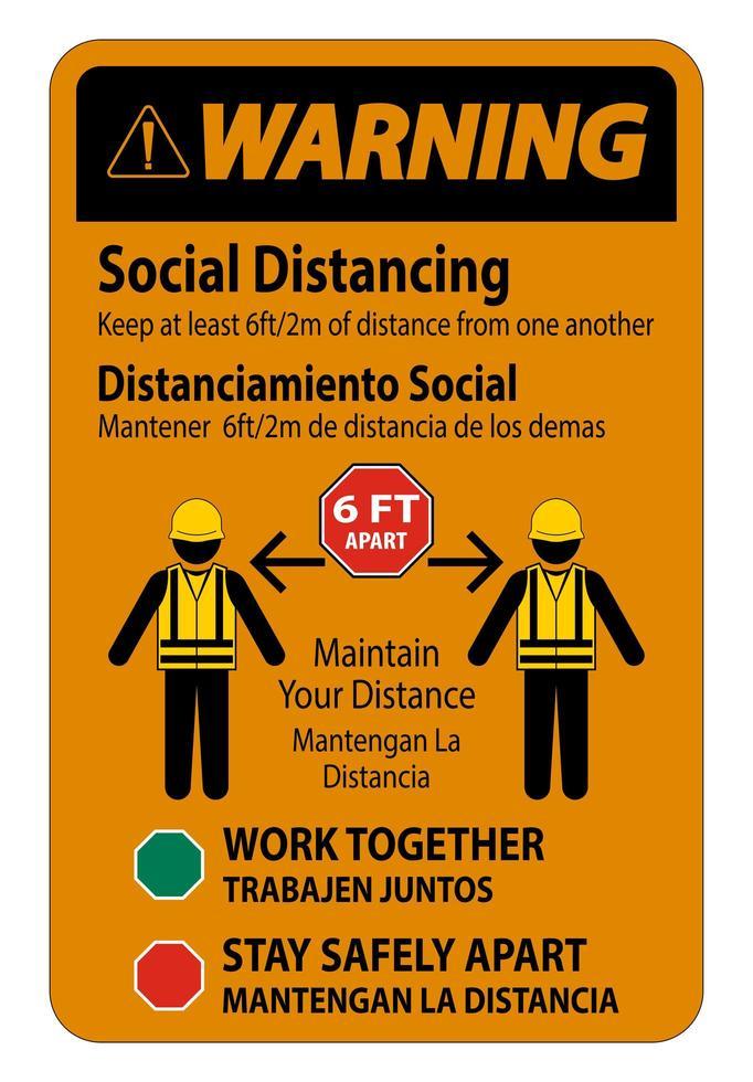 avertissement, social, bilingue, distance, construction, signe vecteur