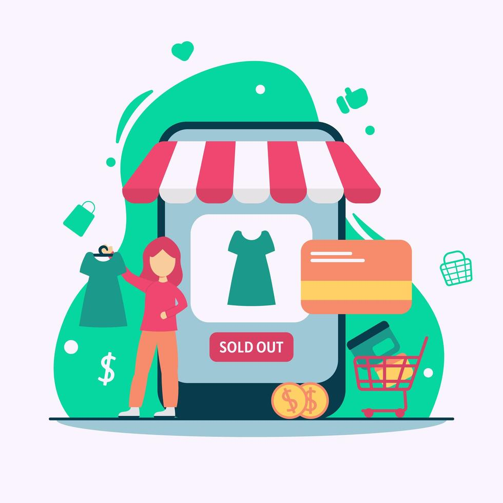 concept de shopping smartphone e commerce vecteur