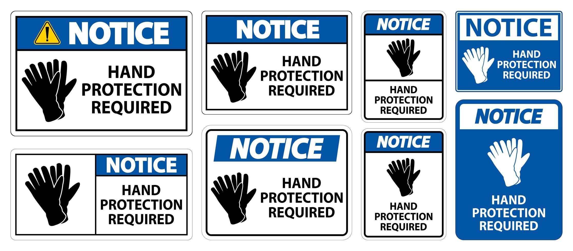 ensemble de panneaux de protection des mains requis vecteur