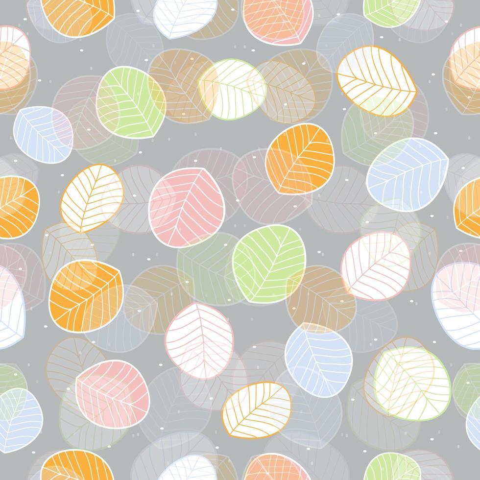 joli motif de feuilles plates colorées vecteur