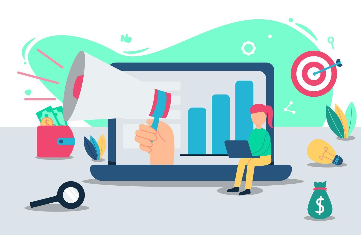 concept de design de promotion en ligne vecteur