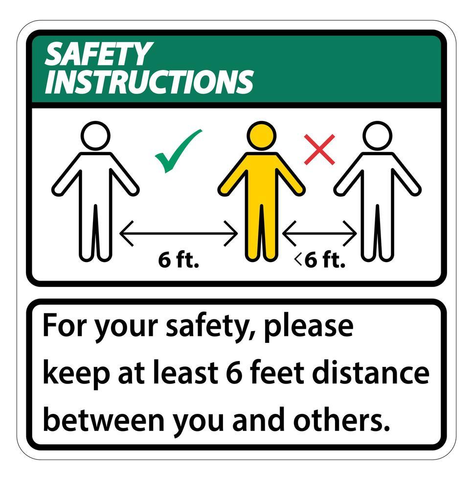 consignes de sécurité pour garder 6 pieds de distance vecteur